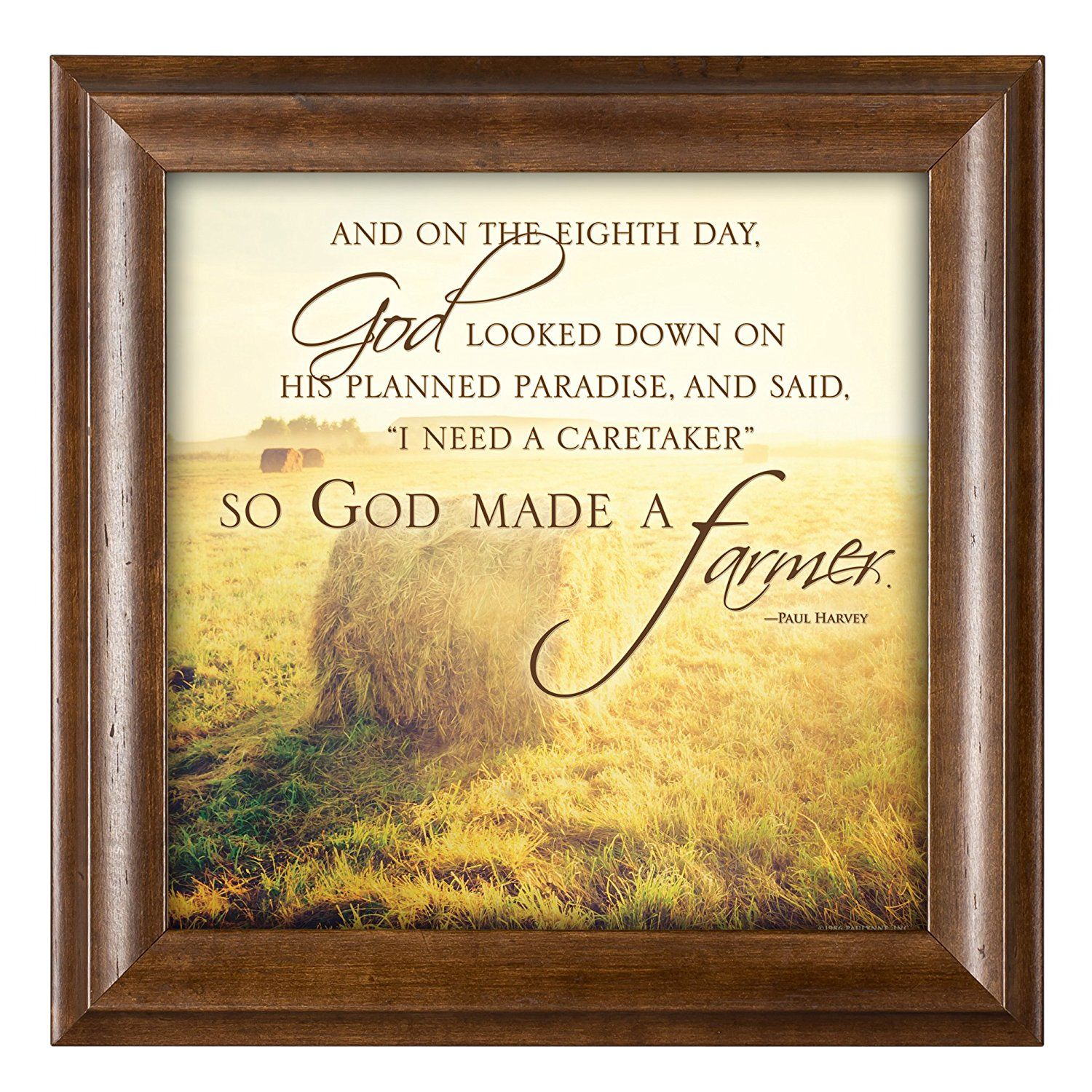 So God Made a Farmer Hay Bales 12 x 12 Framed Art Wall Plaque with ...