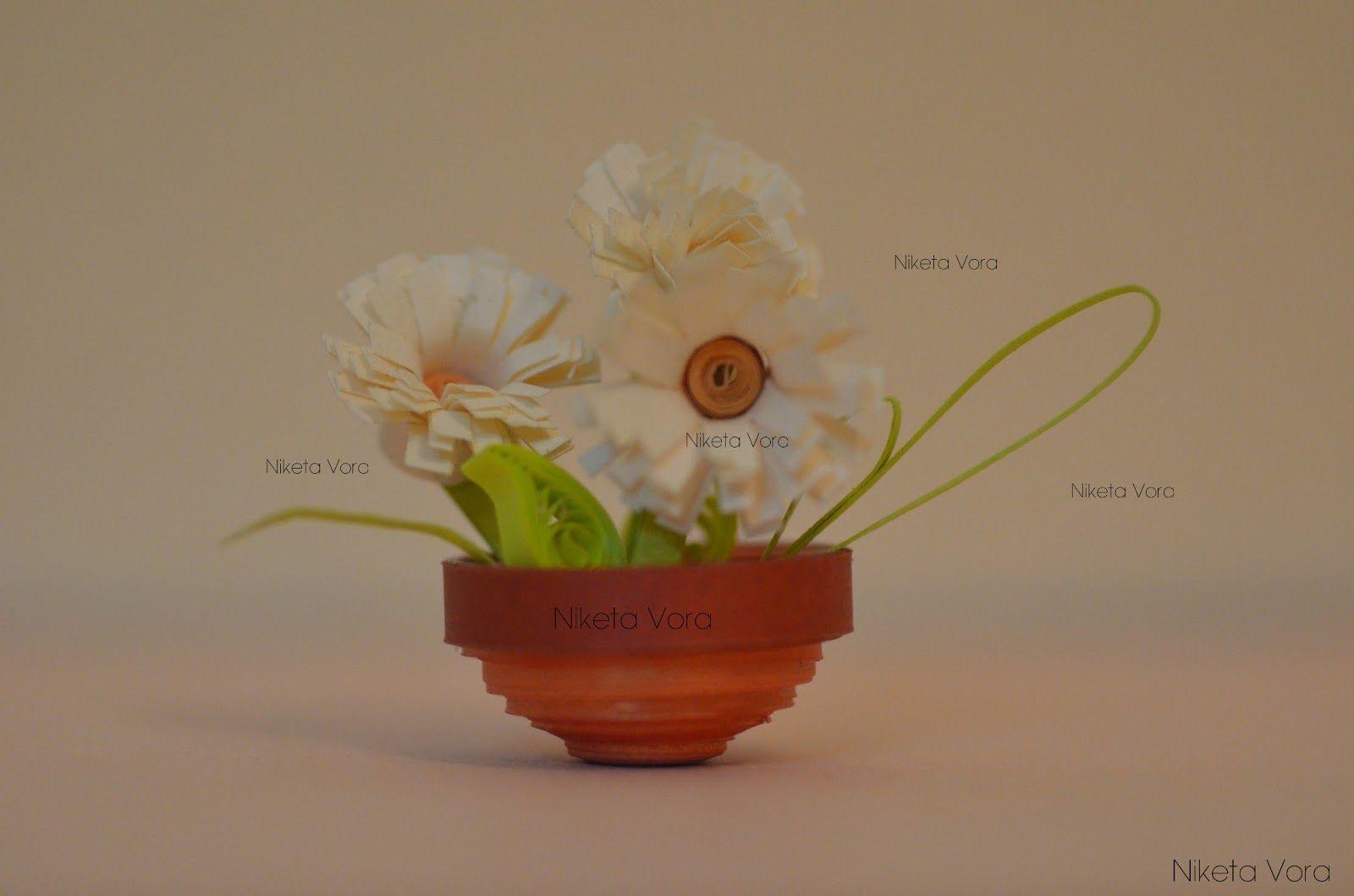 Niketa's Creative Corner: (3D Paper Quilling) Miniature flower pots