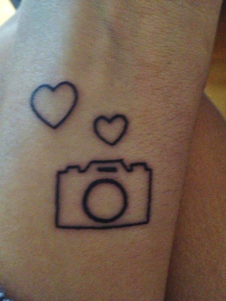 black outline camera with two hearts tattoo design camera tattoos rh pinterest ca two heart tattoo designs Two Hearts Tattoo Designs Tribal