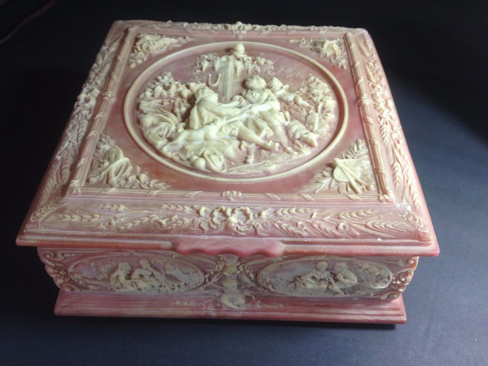 Vintage Incolay Stone Jewelry Box Marie Antoinette Incolay Stone