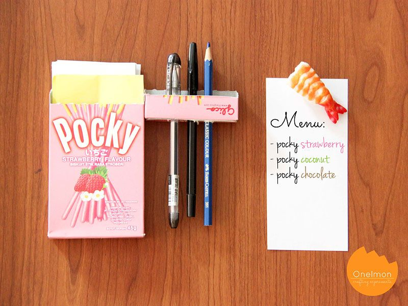 DIY Tutorial Pocky Memo Box Upcycle your pocky or any mini - project memo template