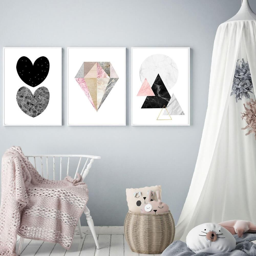 Nordic Pink Flamingo Wall Art in 2020 Nursery canvas art