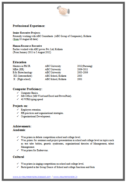 Mba Hr Resume Format Download Page   Career
