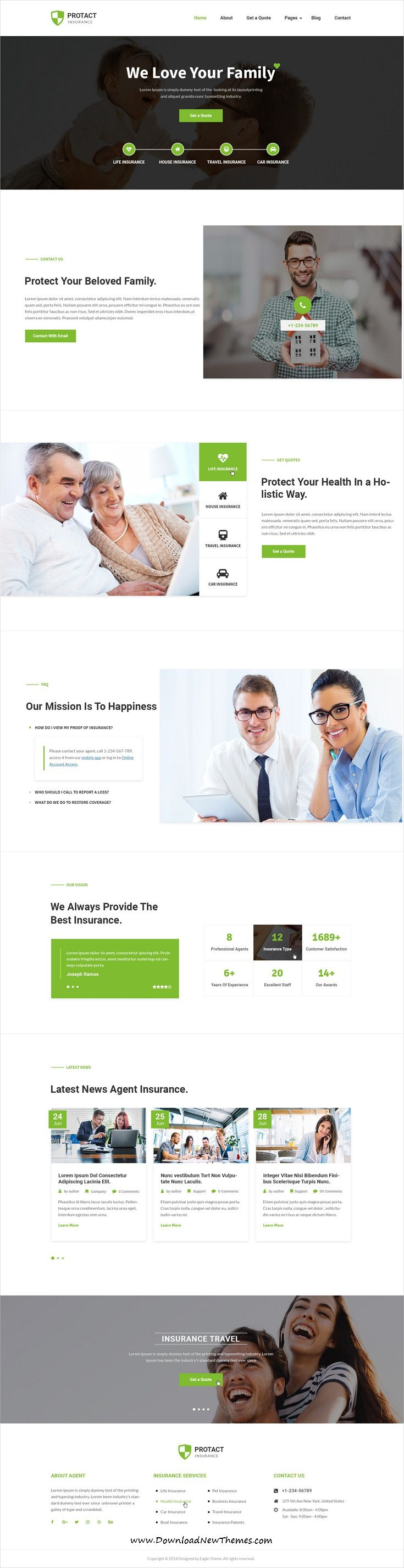 Protact Insurance Agency Business Psd Template With Images