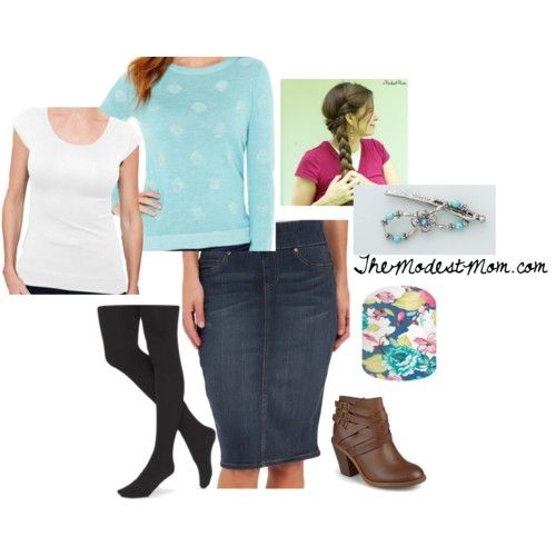 Dotted Blues Fashion Outfit @ The Modest Mom