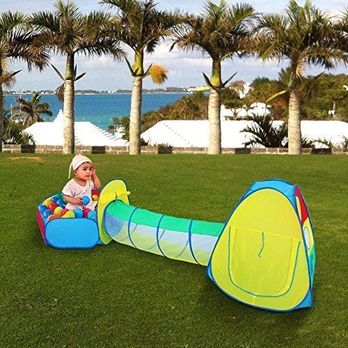 Kids Pop up Play Tent Tunnel Ball Pit 3 in 1 Children House Summer Outdoor Fun & Playhouse Kids Play Tent Tunnel Set Ball Pit Children Summer ...