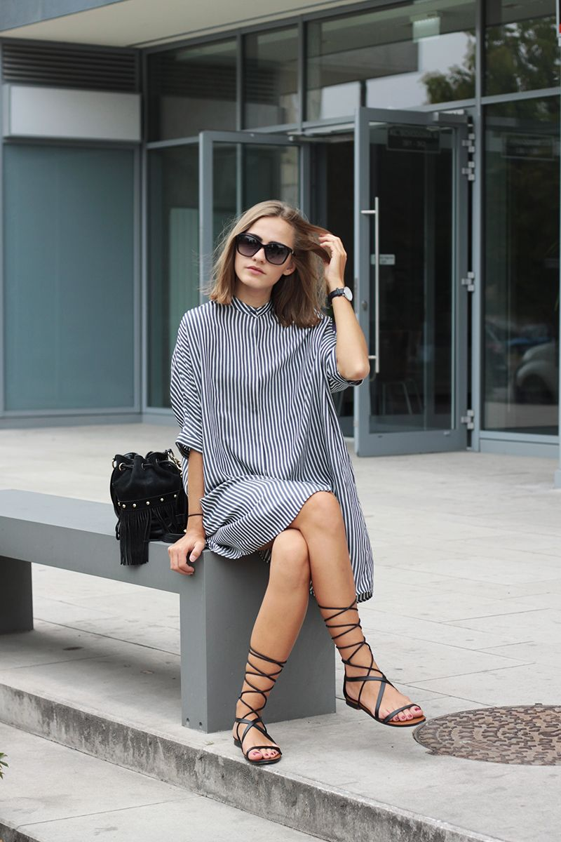 """ecstasymodels: """" Striped Shirt Dress Shirt dress - Zara (I also love this one, this one and this one), Bag - Akira (here), Sandals - Mango (here), Watch - Daniel Wellington, Sunglasses -..."""