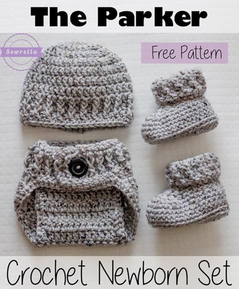 The Parker Crochet Newborn Set Baby Booties Newborn Hat And