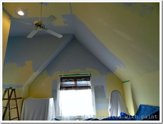 How To Paint A Vaulted Ceiling Without Scaffolding Vaulted Ceiling Living Room Vaulted Ceiling Bedroom Pitched Ceiling
