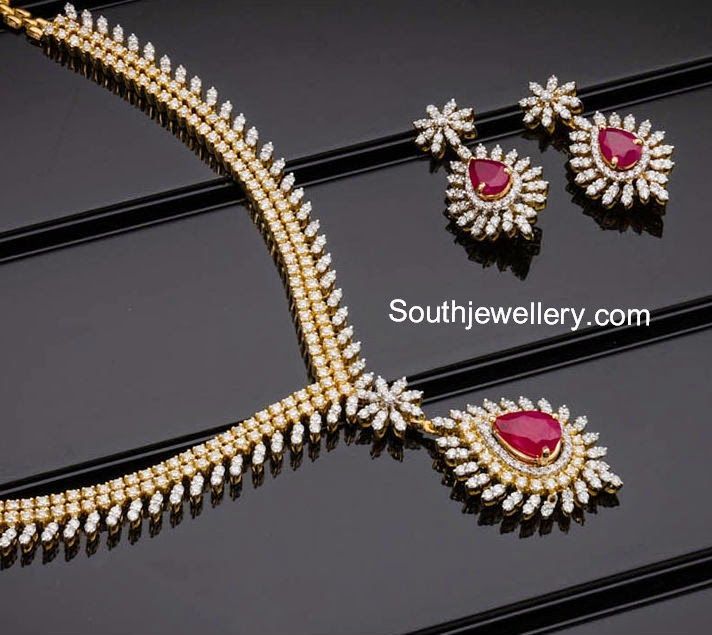 Indian Gold Jewellery Necklace Sets Google Search: Simple Diamond Necklace - Google Search
