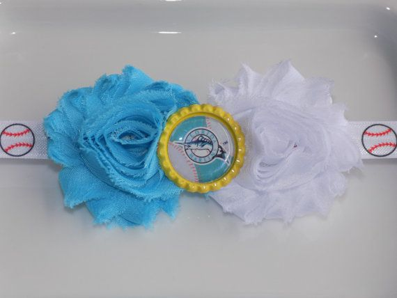 MLB Miami Marlins team colors sky blue and by momsbowtiqueprincess