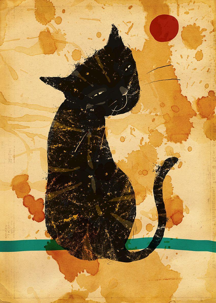 Svart katt - Print