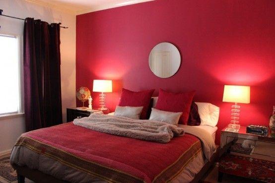 25 stilisierte Schlafzimmer mit roter Farbe Rote