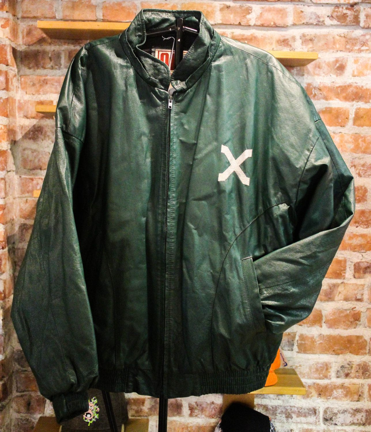 Leather jacket xl size - Malcolm X Green Leather Jacket Size Xl Tag Reads Bigger By On Damand By Officialsvintage On