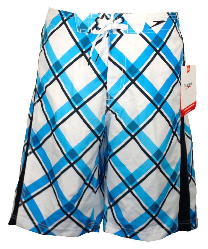 0ec2f4b7b4 NEW Speedo Mens Swim Shorts LASER DIAMOND E-Board Swimwear White Blue Sz S  $58 #Speedo #BoardShorts