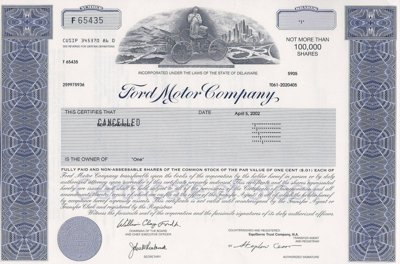 Ford Motor Company Stock Certificate Unissued