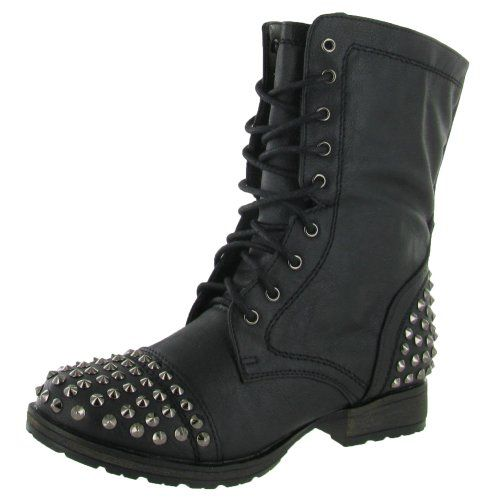 Hot Fashion Georgia 28 Women's Combat Boots Military Studs Black ...