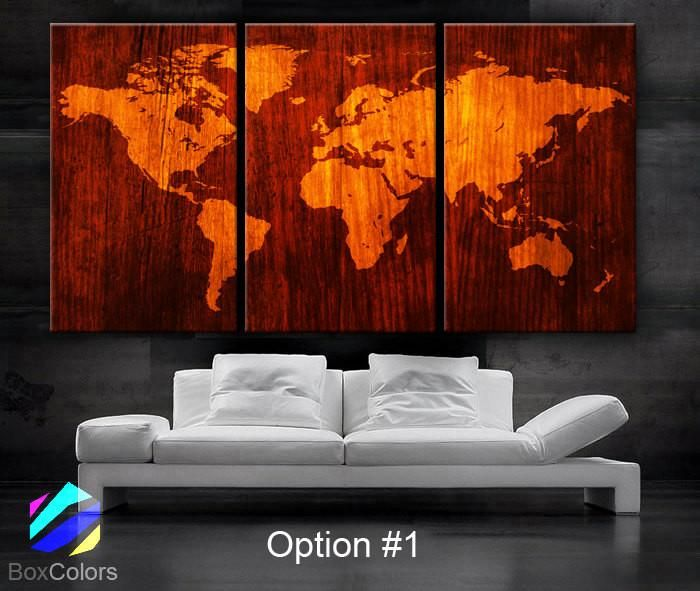 Large 30x 60 3 panels art canvas print beautiful world map wood large 30x 60 3 panels art canvas print beautiful world map wood texture gumiabroncs Choice Image