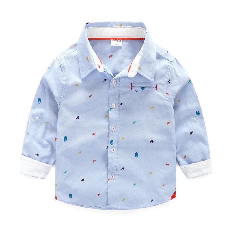 BOBORA Baby Boy Button Down Shirts White Lapel Formal Party Tops