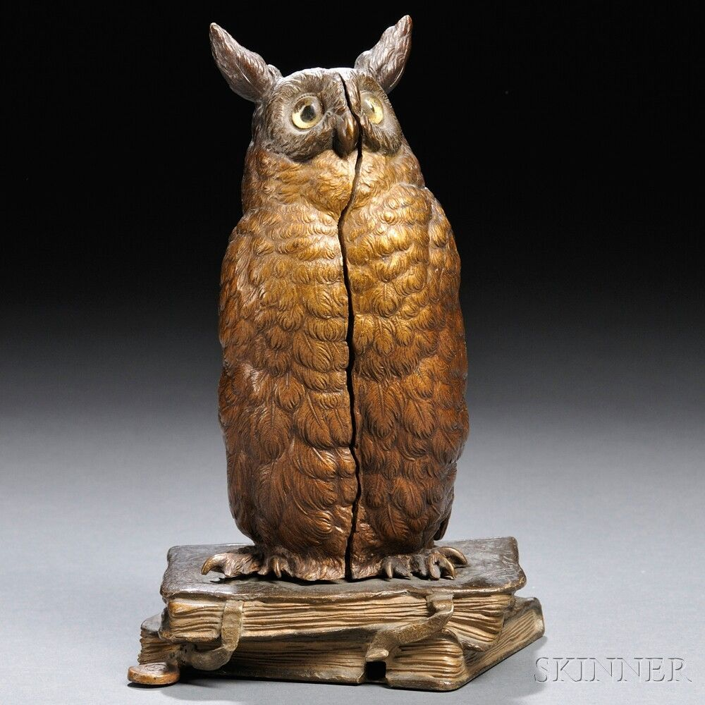 Owl Cold Painted Bronze Franz Bergman