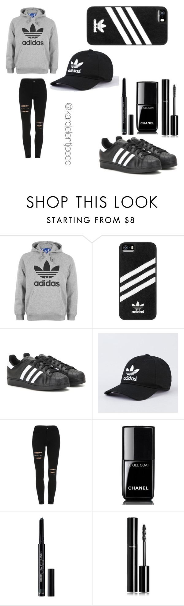 """#52"" by kardelentjeeee ❤ liked on Polyvore featuring adidas, Chanel and Christian Dior"