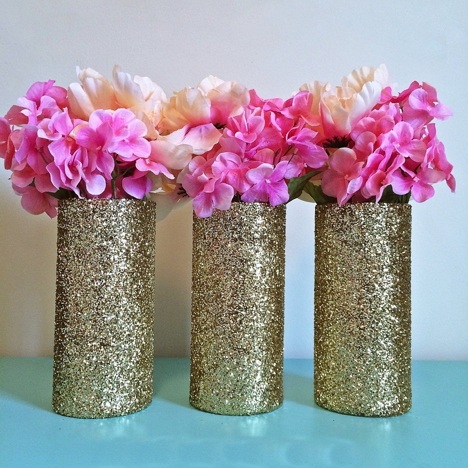 Wedding decorations gold and pink   Gold Glitter Glass Cylinder Vases Wedding Centerpieces Gold