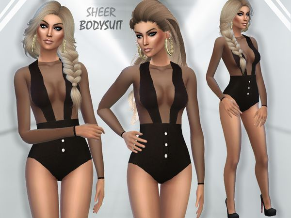 The Sims Resource: Sheer Bodysuit by Puresim • Sims 4 Downloads