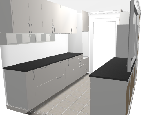 From IKEA Kitchen Planner   Parallel Kitchen With Veddinge White Doors And  Blacku2026
