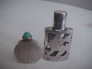 Two Small Mexican Sterling Silver Perfume Bottles photo