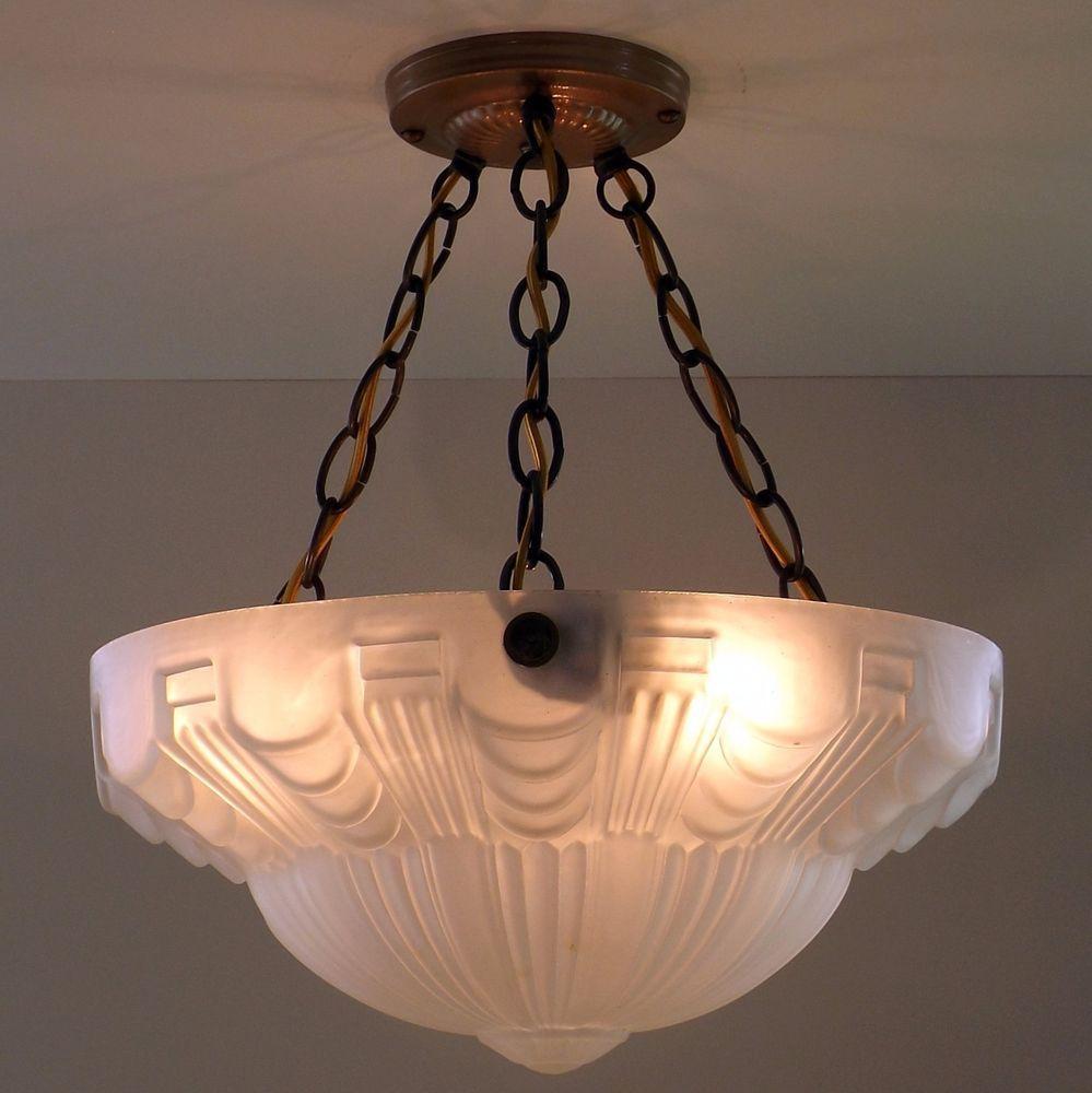 Vtg Art Deco Skyscraper Semi Flush Hanging Chandelier Ceiling Lamp