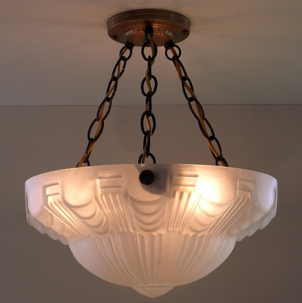 Vtg art deco skyscraper semi flush hanging chandelier ceiling lamp light fixture artdeco