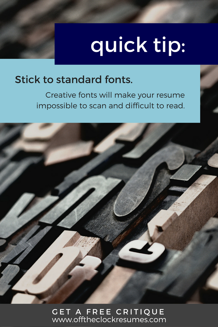 Make A Quick Resume Prepossessing Resume Quick Tip Beware Of Default Or Too Creative Of Fonts .