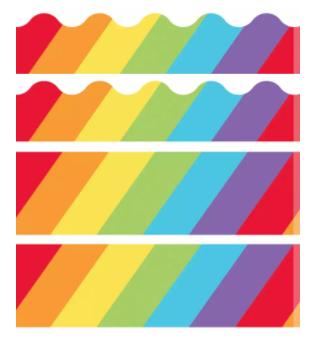 Big Rainbow Printable Borders Set Printable Border Bulletin Board Borders Printable Floral Border Design