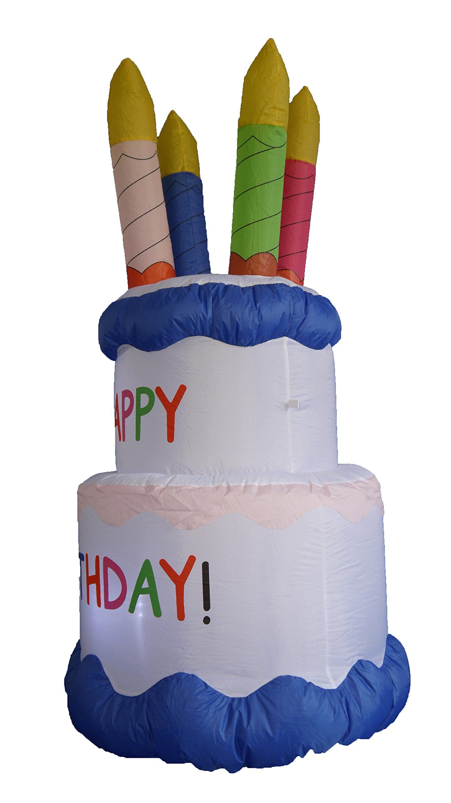 Brilliant 6 Foot Inflatable Happy Birthday Cake With Candles Yard Decoration Personalised Birthday Cards Bromeletsinfo
