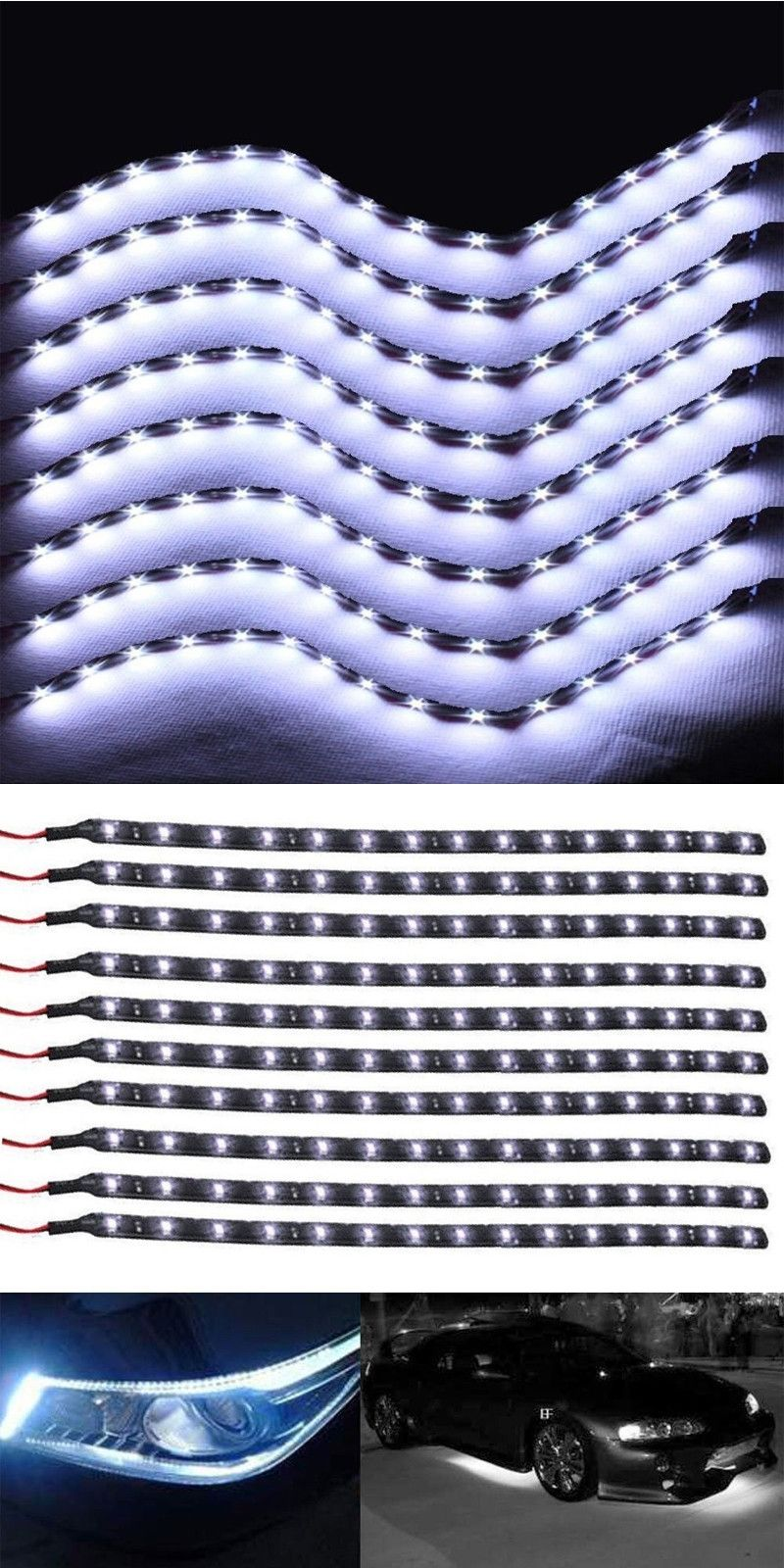 Useful Trendy 8pcs Auto 12v 15 Smd Led Light Bar Car Led Flexible Waterproof Strip Light Car Decor Lamps White Led Light Bars Car Decor Strip Lighting