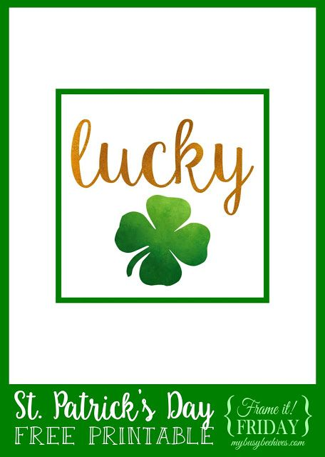 Lucky... a St. Patrick's Day free printable for {Frame it! Friday} #TriplePFeature