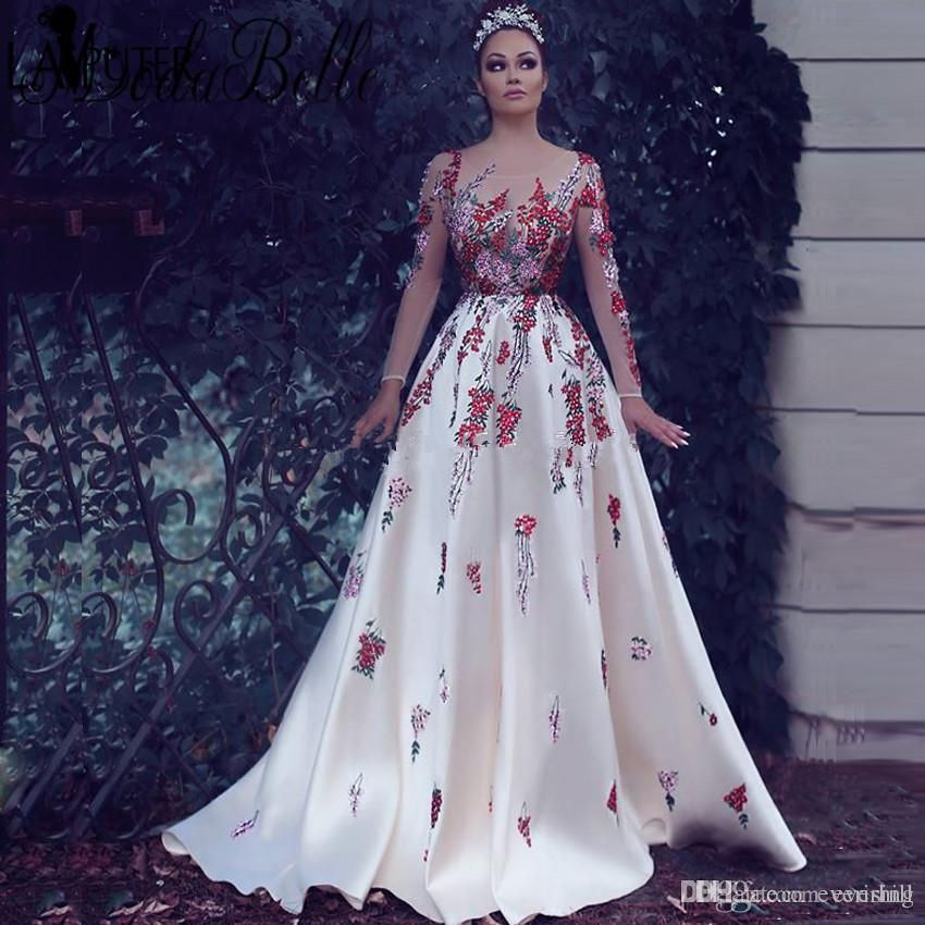 0915c96bd3c01 Jane Vini White Arabic Women Evening Dresses With Exquisite Embroidery 2018  Sheer Long Sleeves Formal Occasion Gowns Dubai Robes Galajurk