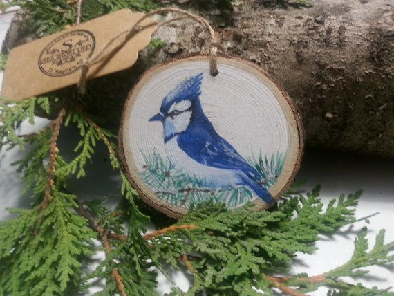 Winter Blue Jay Hand Painted Wood Slice Christmas By