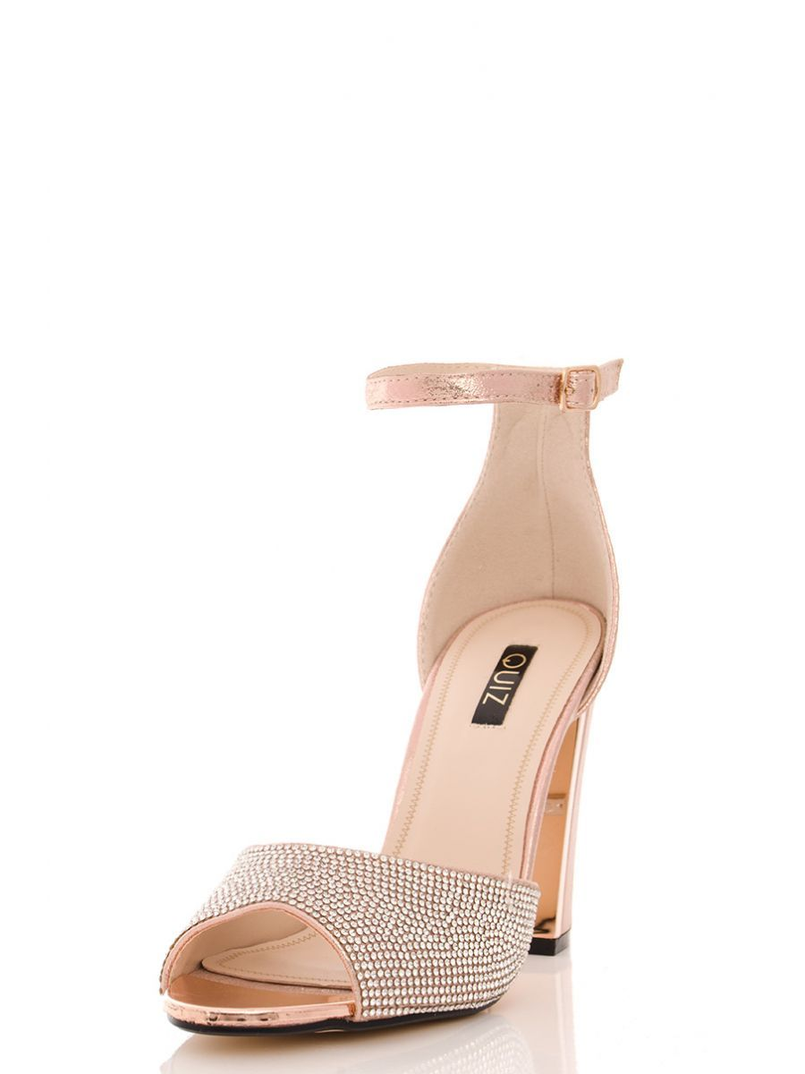 ef9e8abcfdbc Rose Gold Diamante Block Heel Sandals - Quiz Clothing