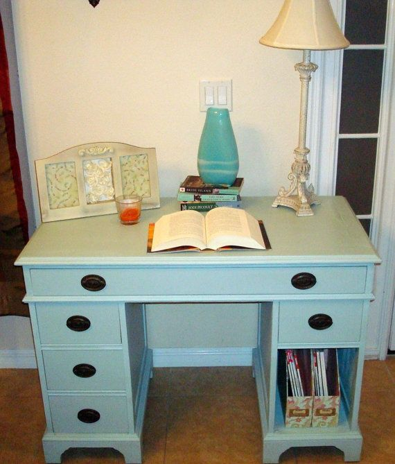 Painted Desk gossamer blue vintage painted desk w/original hardware $125 - like