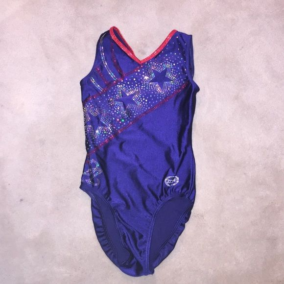 "LUXOURIOUS GYMNASTICS LEOTARD BLUE STARS A gorgeous gymnastics leo with bling. The brand is ""zone"". It was worn once. It is an AS but will fit an extra small! It is a really good deal because I got this for free. Other"