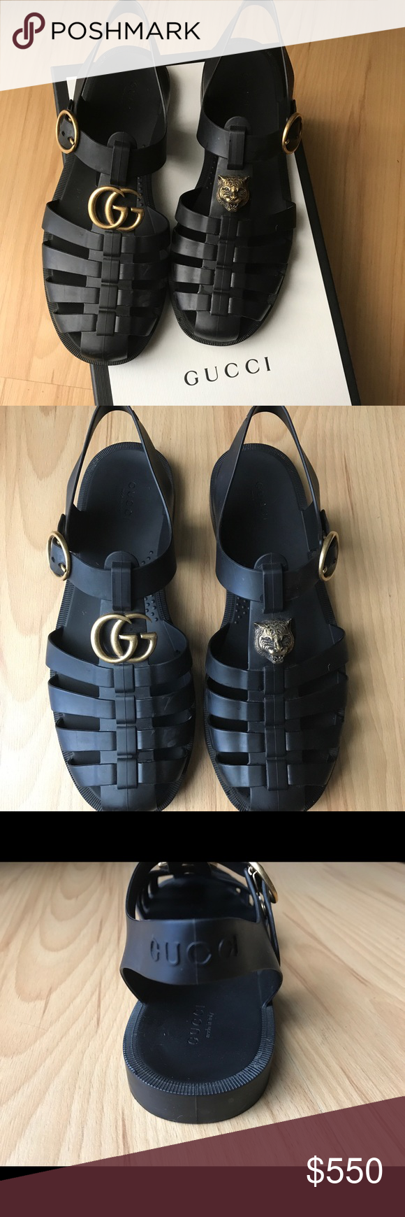 395d79f449f5 GUCCI Tiger Head Rubber Buckle Sandals Unisex black rubber sandals.  Signature carved lion head. Logo embossed at adjustable pin buckle ankle  strap. (Men s 6 ...