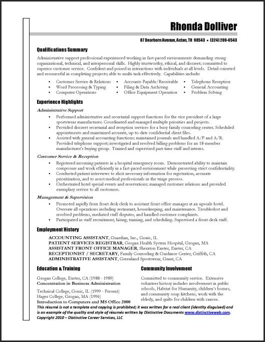 Great Administrative Assistant Resumes Administrative Assistant - sample qualifications in resume