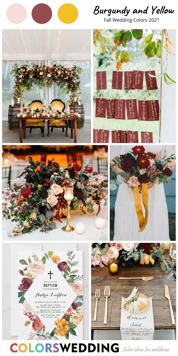 Colors Wedding Fall Wedding Color Combos For 2021 Burgundy And Yellow Wedding Trends Color In 2020 Fall Wedding Colors Fall Wedding Color Palette Fall Wedding
