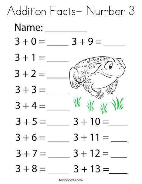 Addition Facts- Number 3 Coloring Page - Twisty Noodle ...
