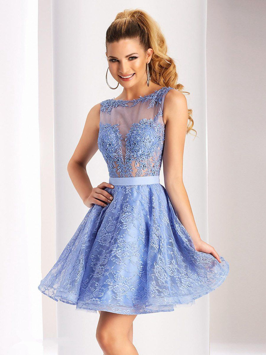 Periwinkle prom dresses with lace neckline