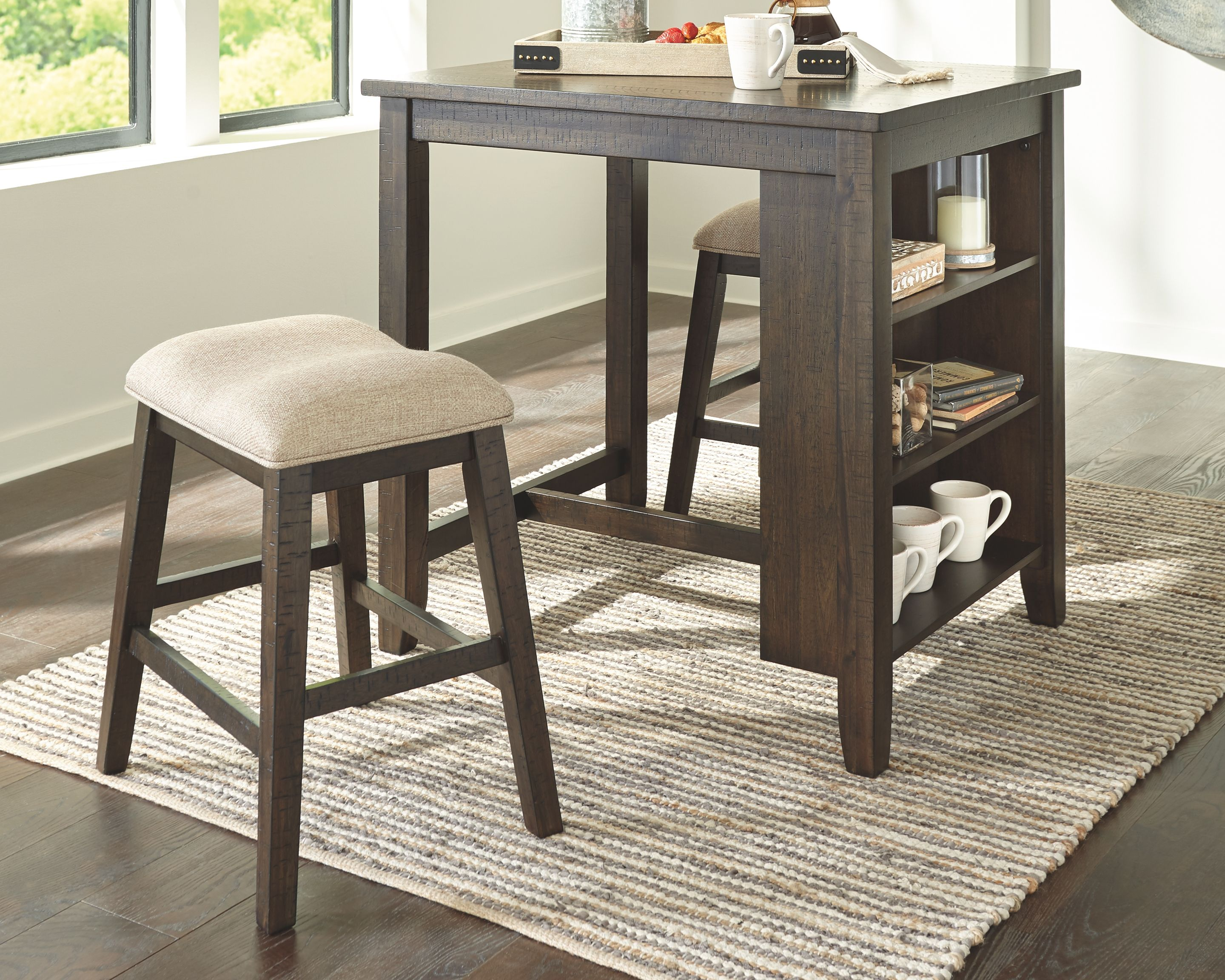 Rokane Counter Height Dining Table And Bar Stools Set Of 3 Light Brown In 2021 Counter Height Dining Room Tables Counter Height Dining Table Upholstered Bar Stools