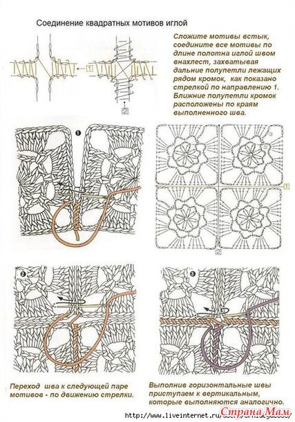 * Various ways of connecting motifs - all in openwork ... (crochet) - Home Moms