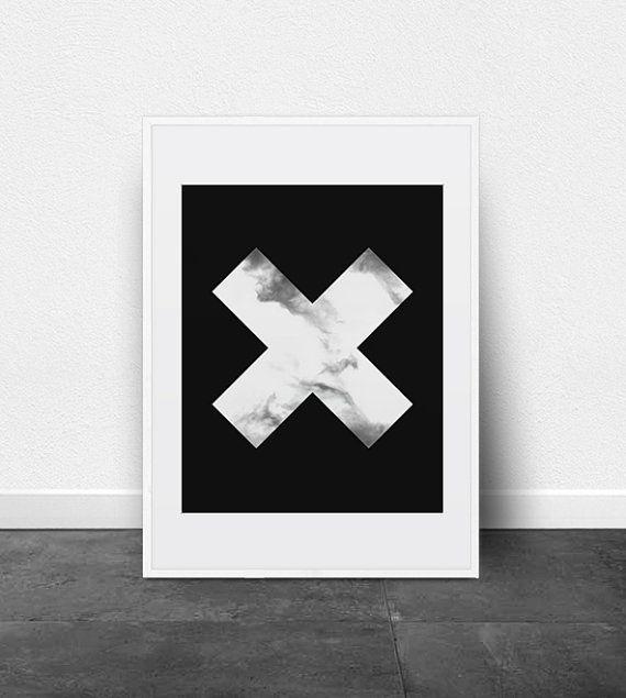 Geometric print geometric poster printable art large cross black and white poster
