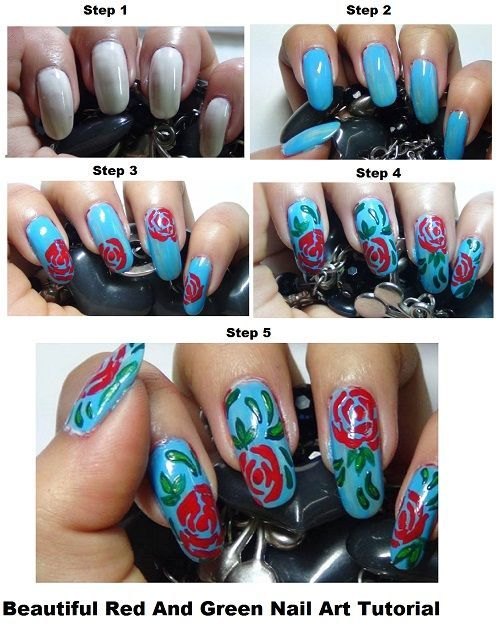 Beautiful Red And Green Nail Art Tutorial | Nails | Pinterest ...